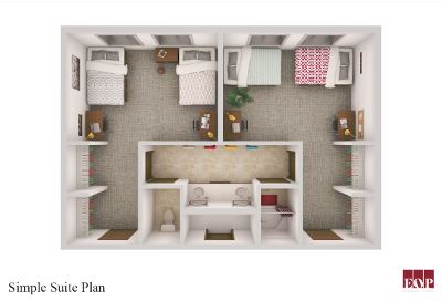 Layout of the Simple Suites for Newly Constructed Halls, showing two rooms with two full beds joined by a bathroom shared between both rooms.