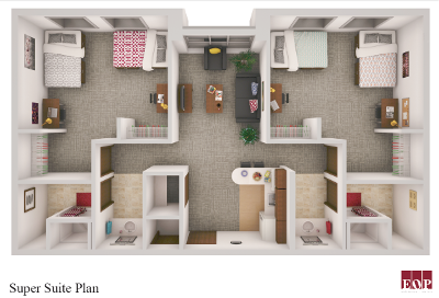 Floorplan layout of the Super Suite room, with two separate rooms with two beds each, a bathroom for each bedroom, and a living/kitchenette room joining